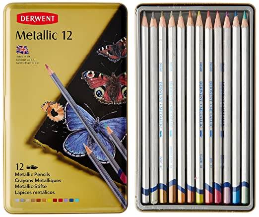 10 opinioni per Derwent Metallic Confezione da 12 Matite Colorate Idrosolubili in Scatola do