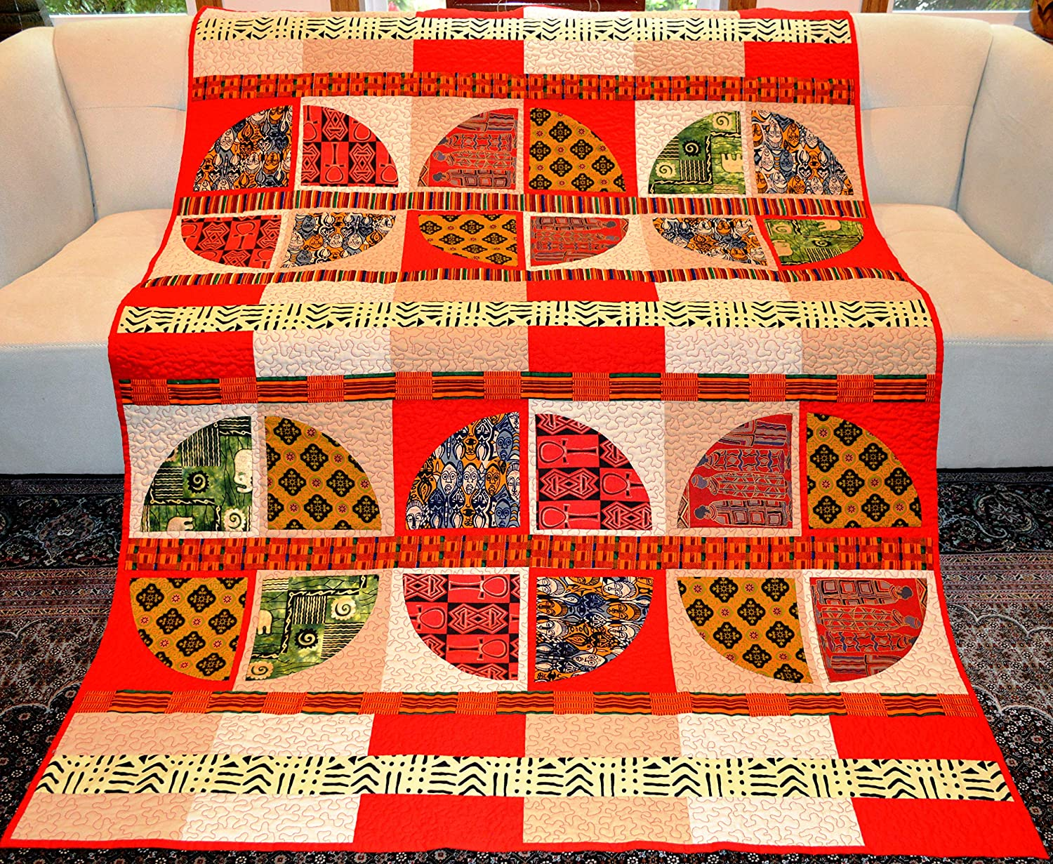 Image of African Textile Circles Quilt Home and Kitchen