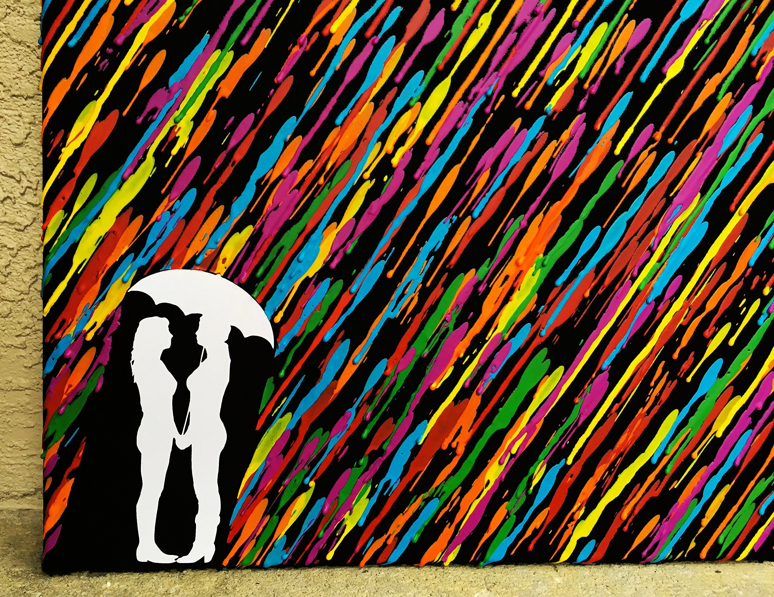 Lesbian Girlfriend Gift, Girl Couple Gift, Melted Crayon Art, Lesbian Wedding Gift 16''x20'' Canvas Art