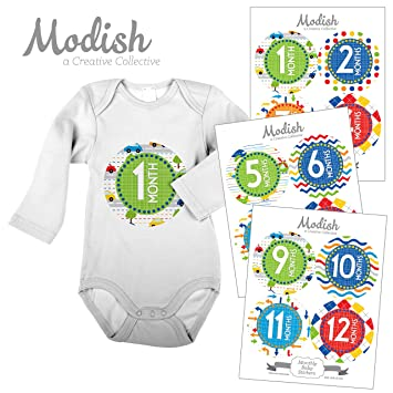 Amazon.com: 12 Mensual bebé Pegatinas, coches, colores ...