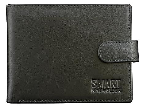 Cartera de RFID NFC - Protección de tarjeta sin contacto - Negro Cuero de vaca genuino