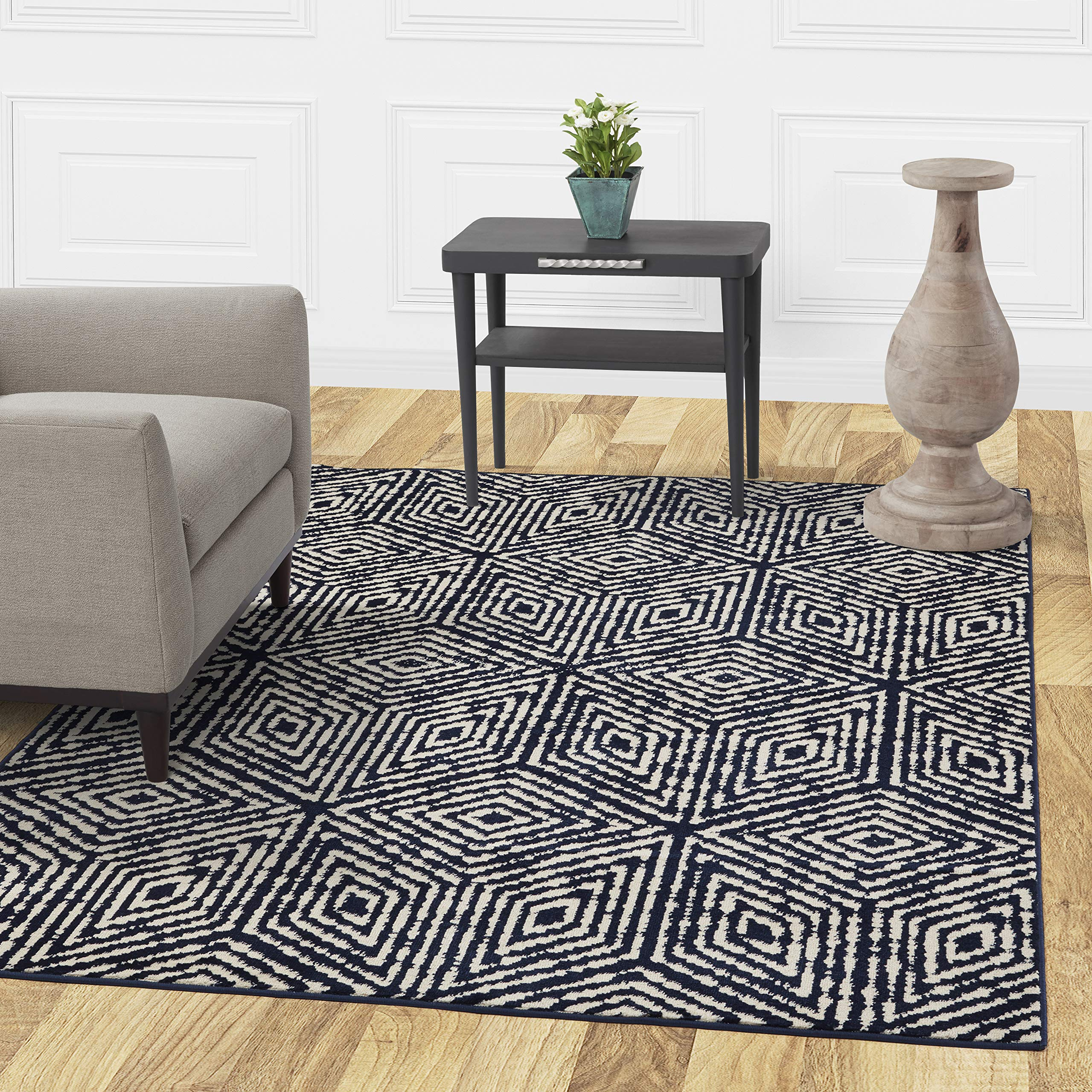 Diagona Designs Contemporary Geometric Cubes Design Modern 8' X 10' Area Rug, 94'' W x 118'' L, Navy/Ivory (JAS2195) by Diagona Designs (Image #1)