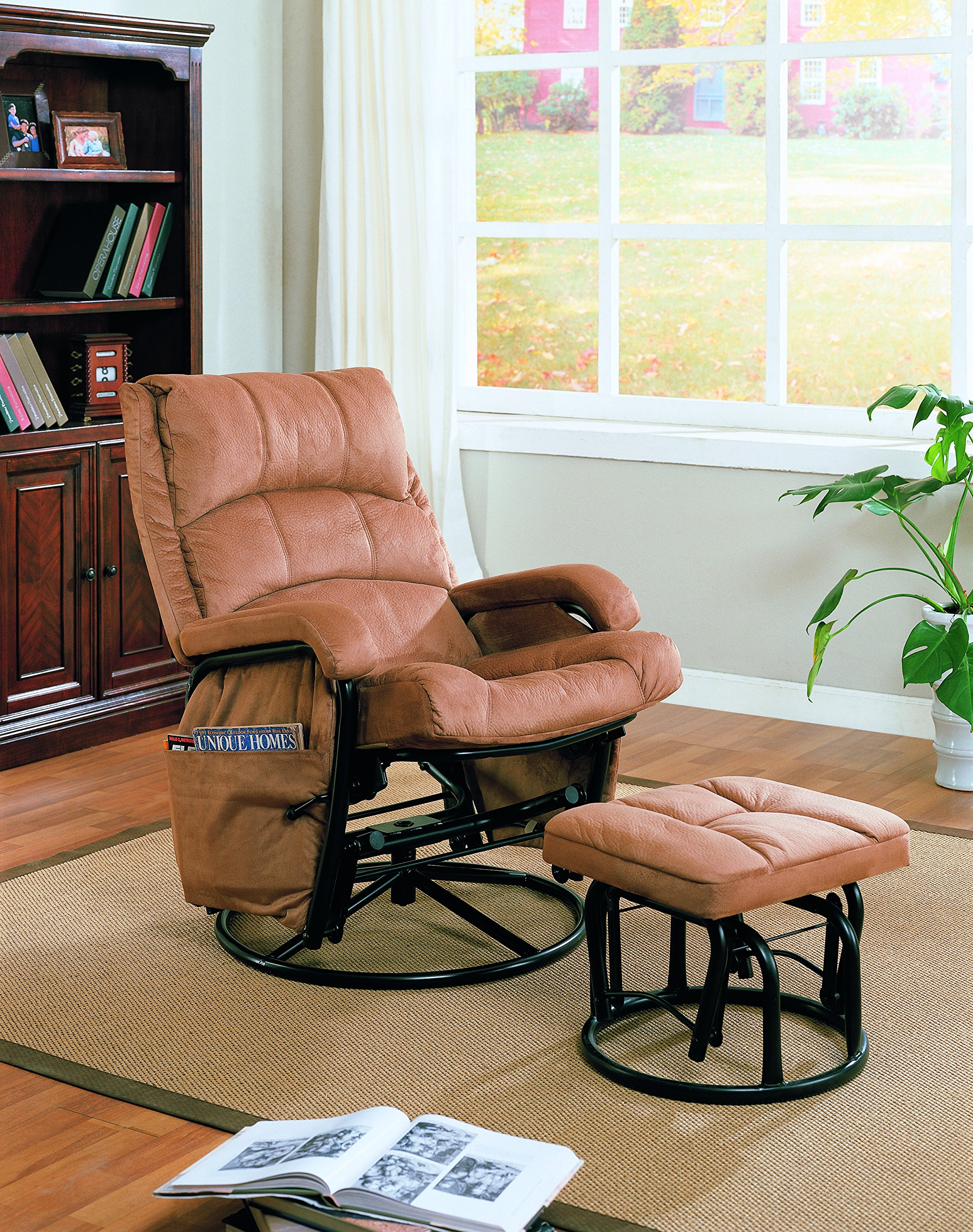 Glider Recliner with Matching Ottoman Brown and Black by Coaster Home Furnishings