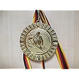 Gold,Silber,Bronce, Gold, Silber, Bronze - Billard mit Medaillen-Band mit Alu Emblem Gro/ße Stahl 70mm - Fanshop L/ünen Medaillen Set e111 Medaillenset