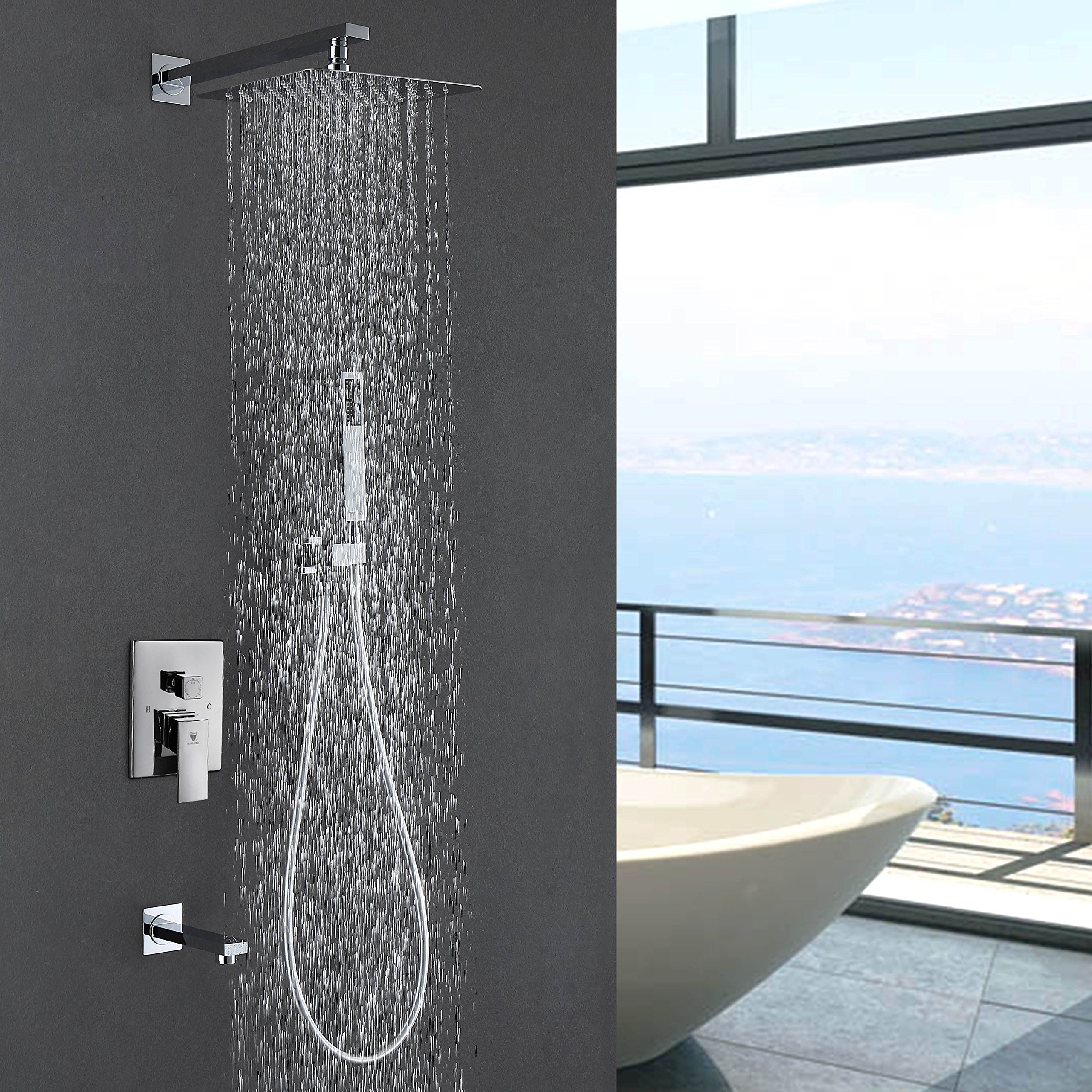 HIMARK Luxury Rain Shower Systems Wall Mounted Shower Combo Set with High Pressure 10 Inch Square Rain Shower Head and Handheld Tub Shower Faucet Set Polished Chrome