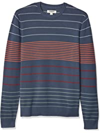 4f319b4d0e8 Goodthreads Men s Soft Cotton Multi-Color Striped Crewneck Sweater