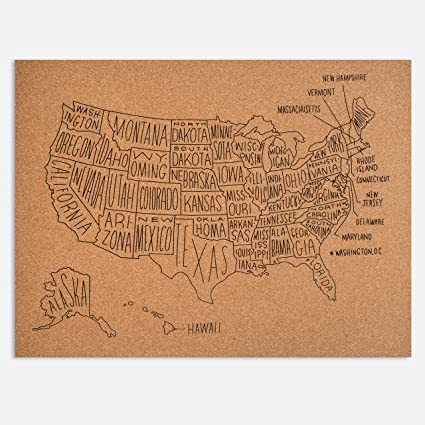 Amazoncom Easy Tiger Corkboard Maps Hand Lettered US Map 24 x