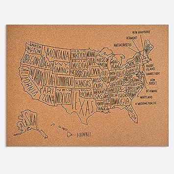 Amazoncom Easy Tiger Corkboard Maps Hand Lettered US Map - Amazon us map