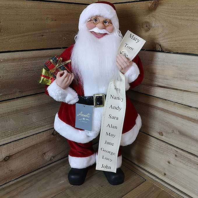 Premier Standing Santa Claus Father Christmas With Glasses Gold 30cm