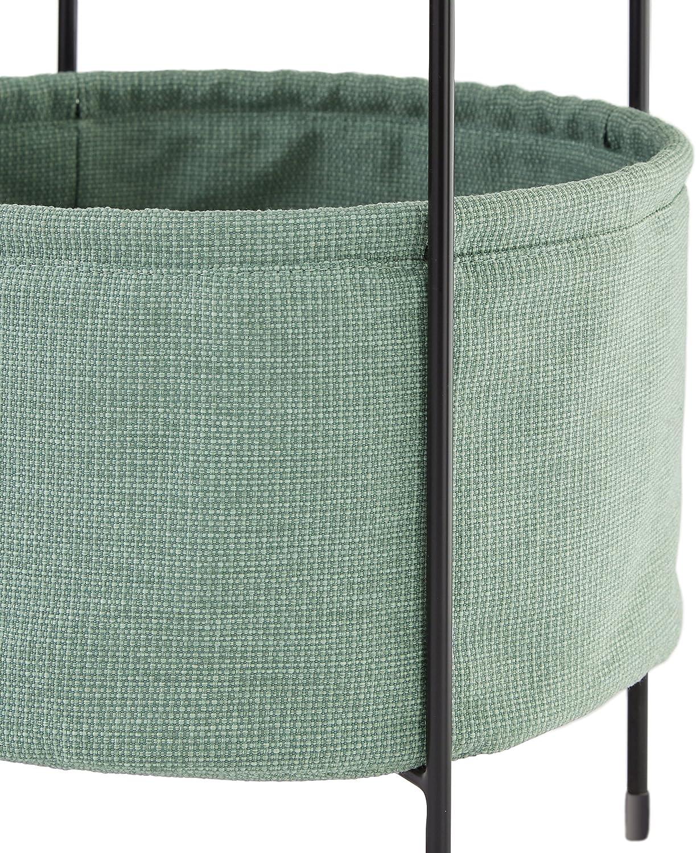 Table dappoint ronde avec panier de rangement en tissu int/égr/é Marque /Rivet Meeks Noyer et cr/ème