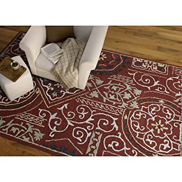 Amazon Com Kaleen Rugs Felicity Red Hand Tufted Wool Rug 8 0 X 11