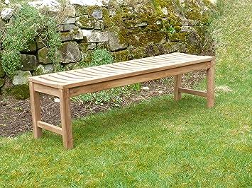 Pleasant Backless Teak Wooden Garden Bench Solid Outdoor Sports Club Machost Co Dining Chair Design Ideas Machostcouk