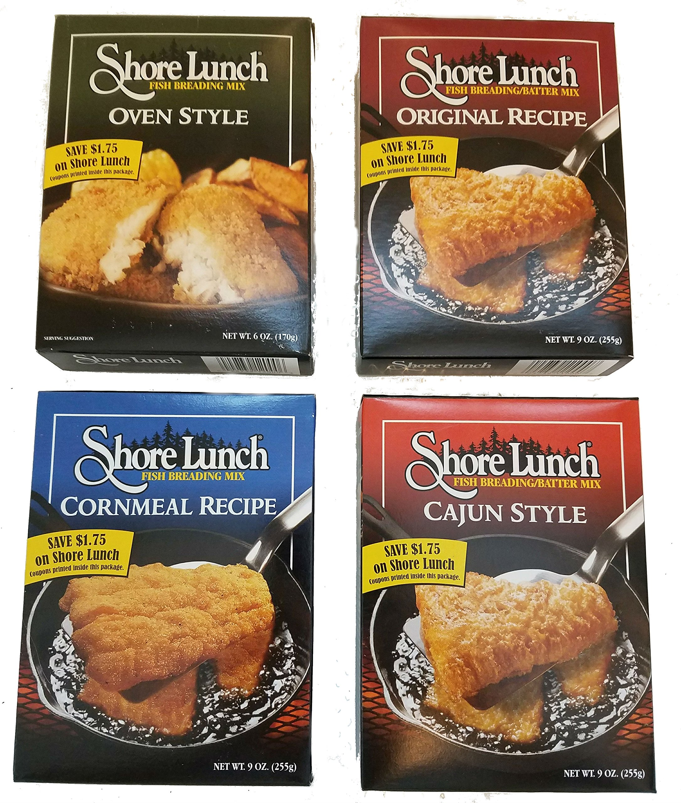 Shore Lunch Fish Breading/Batter 4 Flavor Fish Fry Variety Pack, (1) Each: Original recipe 9 Oz, Cajun Style 9 Oz, Cornmeal Recipe 9 Oz, Oven Style 6 Oz.