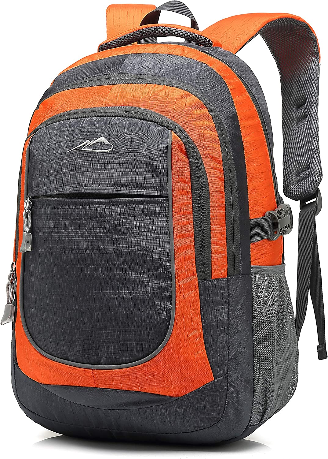 Backpack Bookbag for School College Student Travel Business Hiking with 15.6 Inch Laptop Compartment Night Light Reflective (Orange)