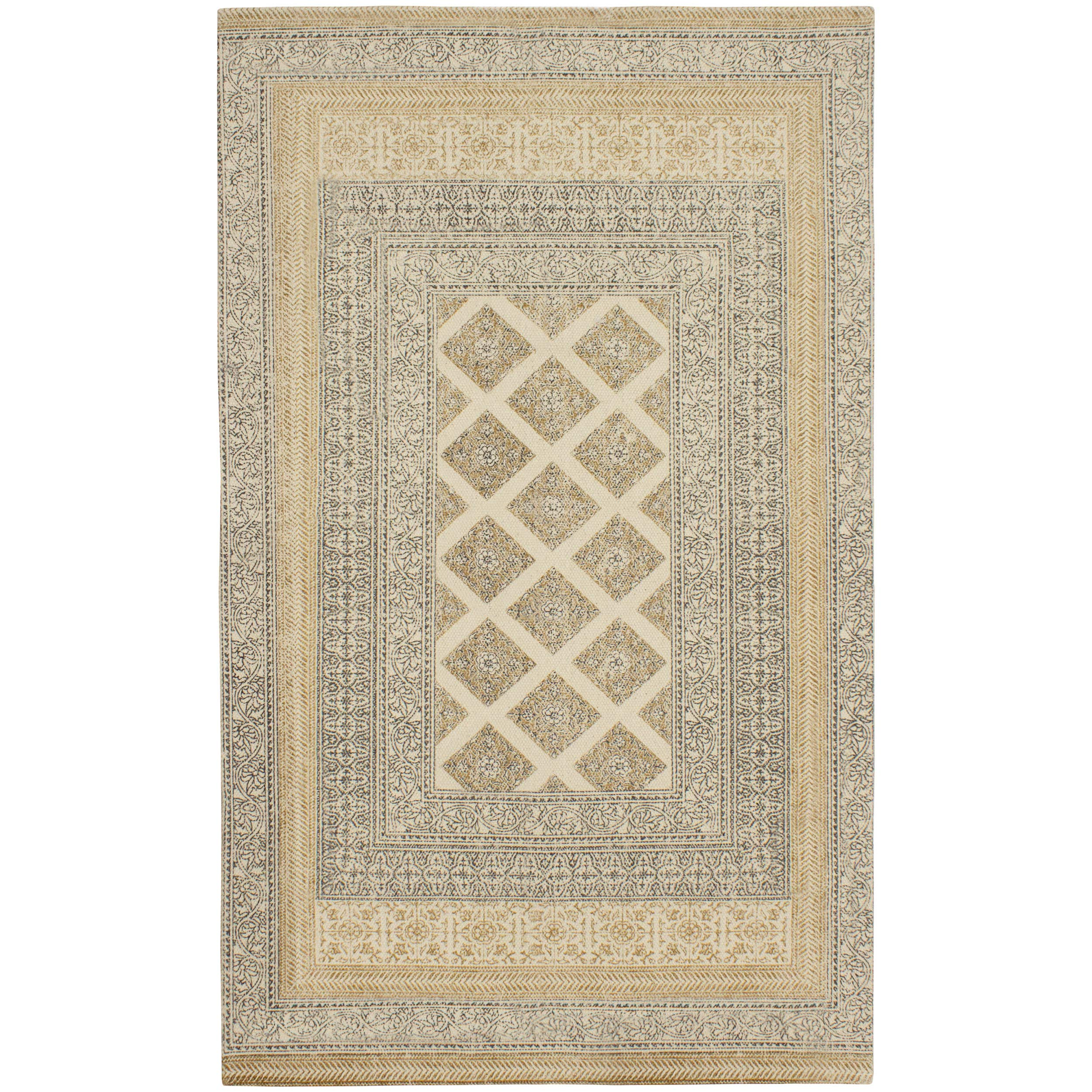 French Connection Bryn Stonewash Printed Cotton Accent Rug 48 in. x 72 in. in, Natural by French Connection (Image #1)