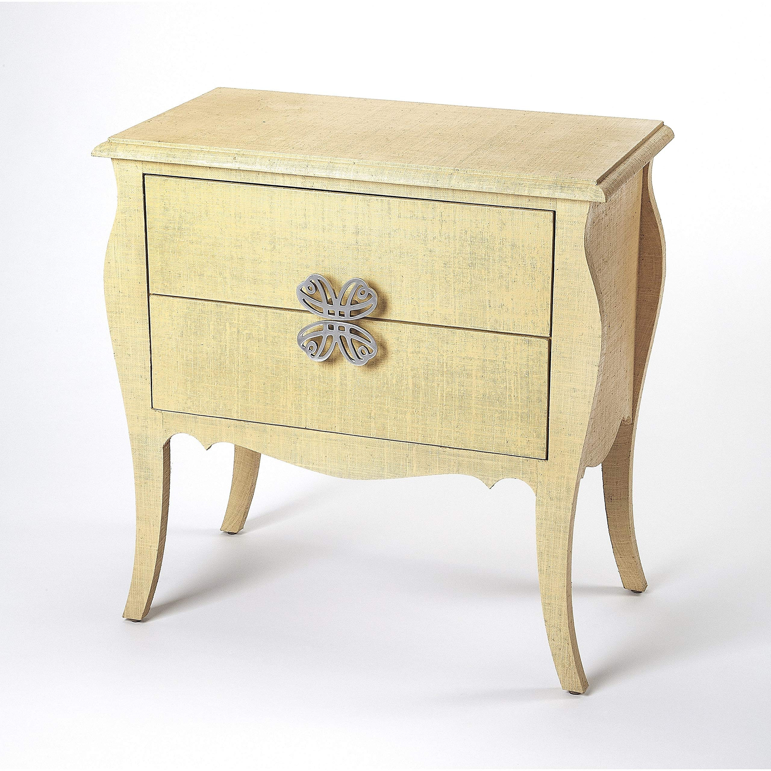 Felicia Transitional Rectangular Natural Raffia Accent Chest - Beige Rectangle Aluminum MDF Wood Distressed Finish by Unknown