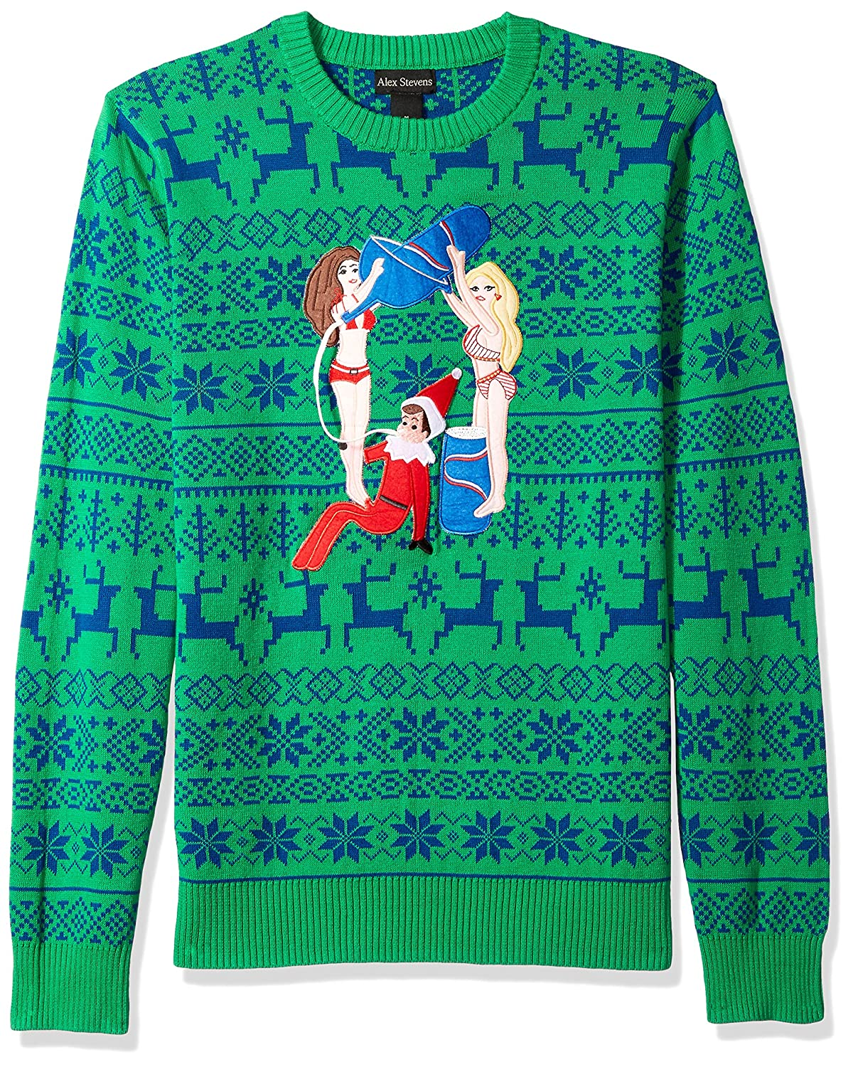 Alex Stevens Mens Drunk Elf Ugly Christmas Sweater