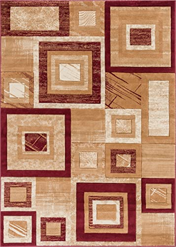Well Woven Cristallo Squares Red Boxes Hand Carved Modern Geometric Area Rug 8 x 10 7 10 x 9 10 Easy to Clean Stain Fade Resistant Abstract Contemporary Thick Soft Plush