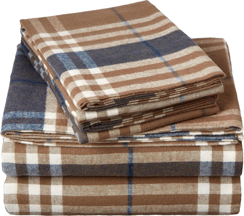 Amazon Com Pinzon Plaid Flannel Bed Sheet Set Twin Xl Brown Plaid Home Kitchen