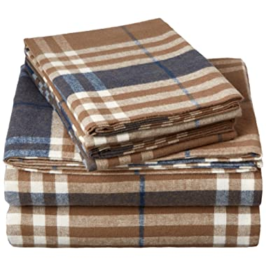 Pinzon 160 Gram Plaid Flannel Sheet Set - King, Brown Plaid - FLSS-BBPL-KG