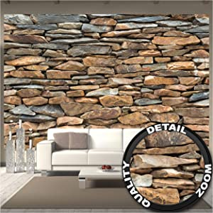 GREAT ART Large Photo Wallpaper – Shale Stonewall – Photo Decoration Stones Optic Mural Rocks Walls Rustic Stone Industrial Design Look Wall Decor Image Decor Wall Mural (132.3x93.7in - 336x238cm)