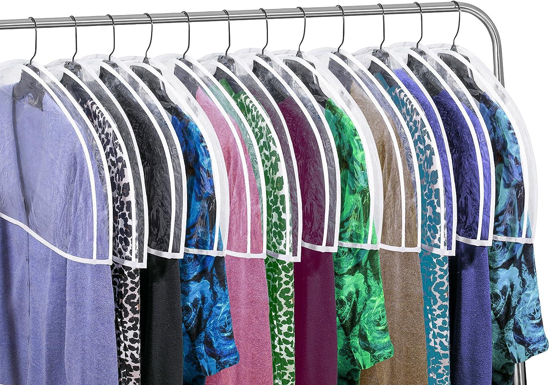 "Clear Vinyl Shoulder Covers Closet Suit Protects Storage Home Decor Set of 12, 12""H x 22""W x 2""D: Home & Kitchen"