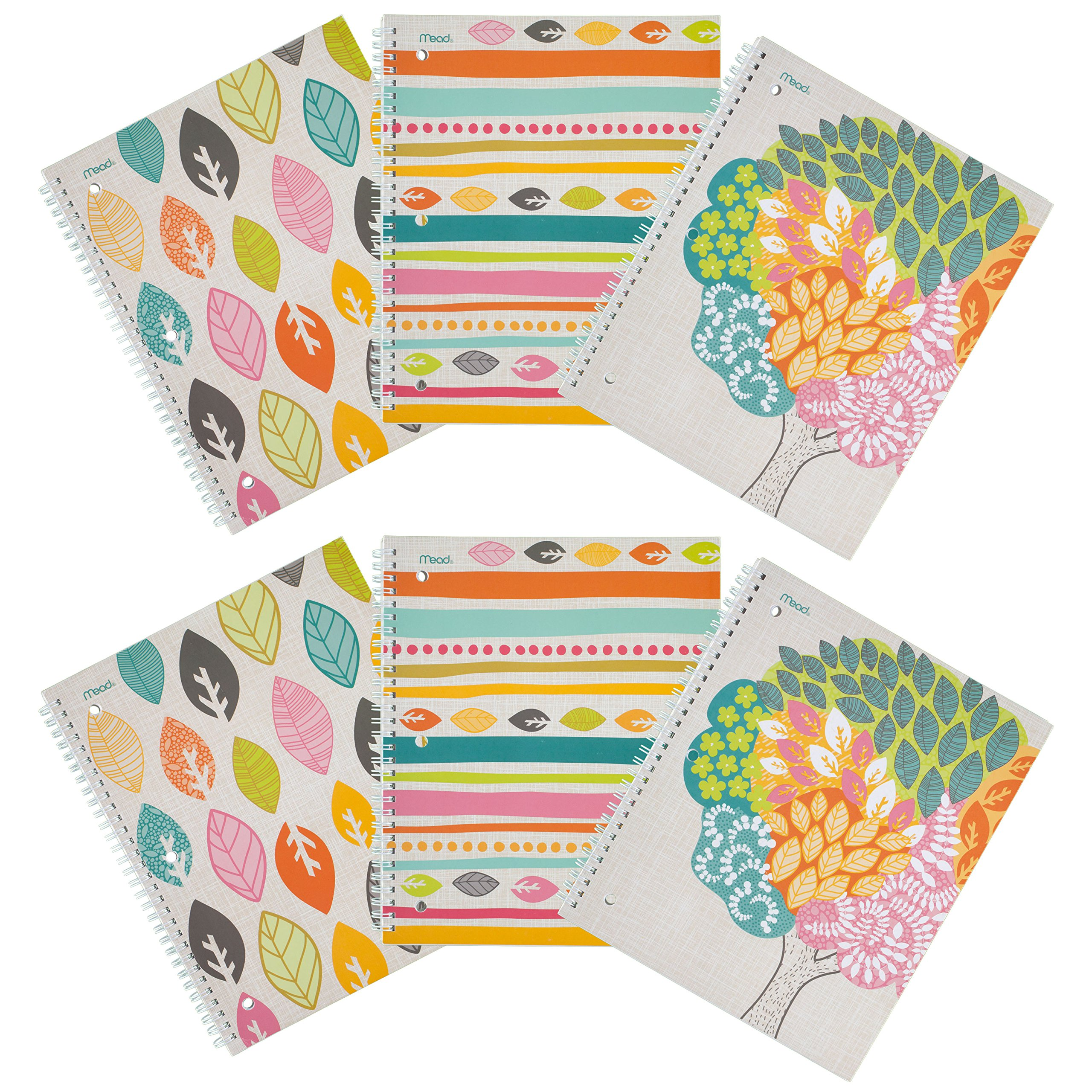 Mead Spiral Notebooks, 1 Subject, College Ruled, Assorted Botanical Boutique Designs, 6 Pack (73081)