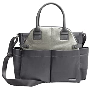 Skip Hop Chelsea Downtown Chic Diaper Satchel, Charcoal Shimmer/Grey