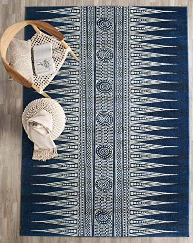 Safavieh Evoke Collection EVK226A Bohemian Vintage Royal Blue and Ivory Area Rug 3 x 5