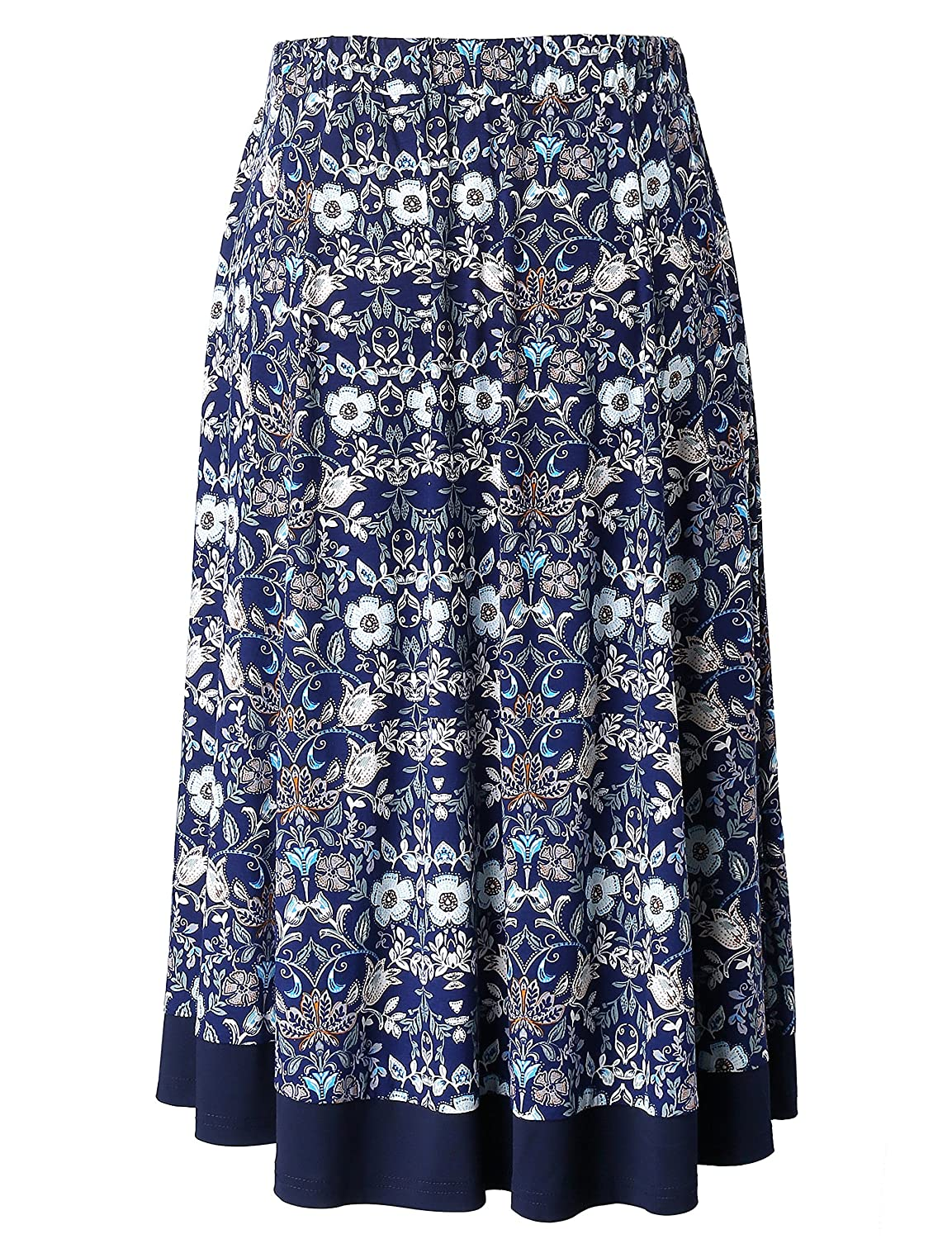 Chicwe Womens Plus Size Flared Elastic Waist Skirt with Calf Length 1X-4X
