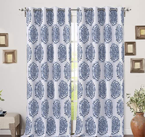 DriftAway Emily Medallion Floral Pattern Energy Saving Thermal Insulated Blackout Window Curtain Grommet 2 Layers 2 Panels 52 Inch by 84 Inch Navy Blue
