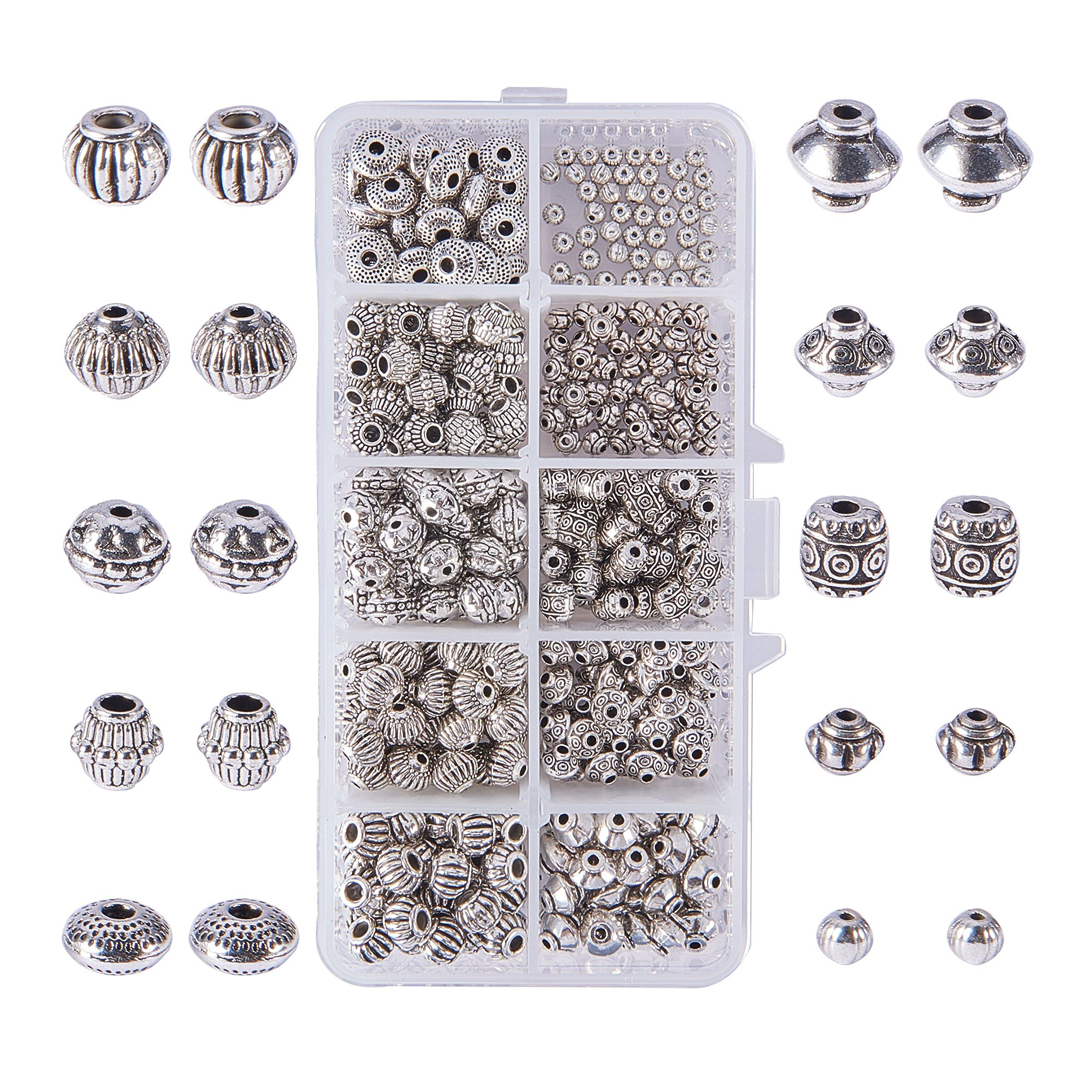 PandaHall Elite about 500pcs 10 Styles Spacer Beads Tibetan Alloy Antique Silver