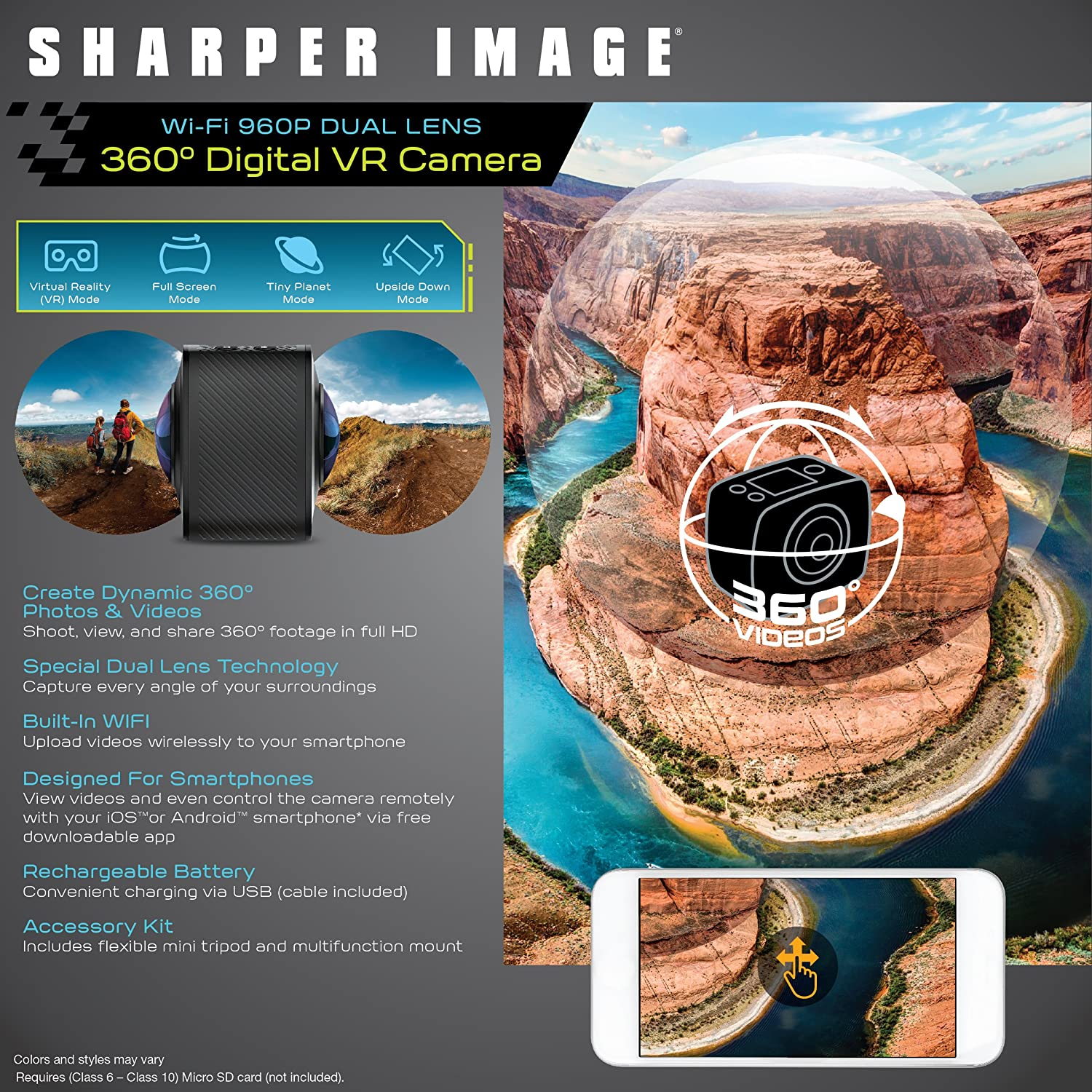 SHARPER IMAGE 360 Action Camera w/Wide Dual Lens, Record 960P Video &  Photos for VR Virtual Reality, Handheld Mini Tripod and Car Dash Cam Mount,