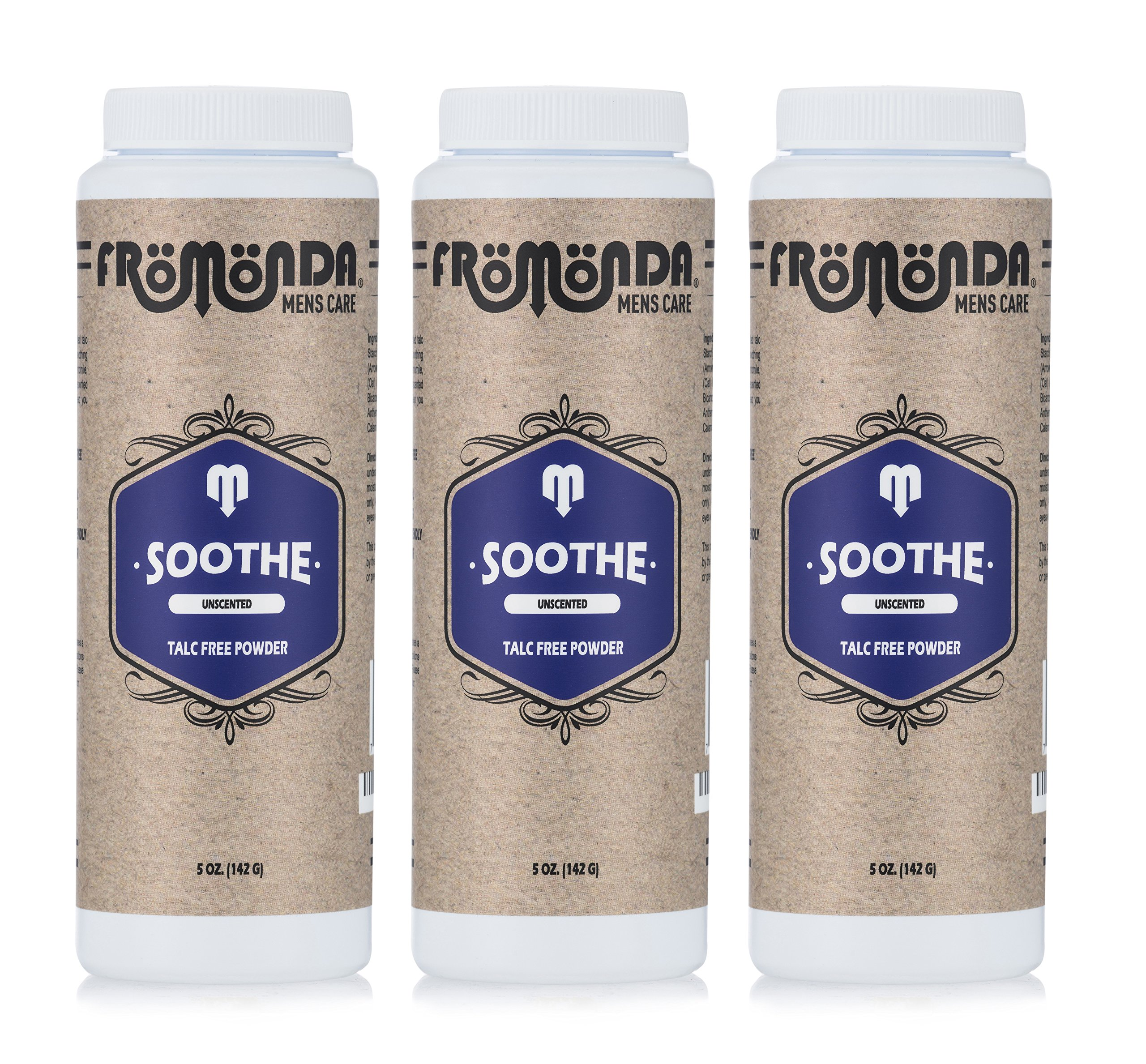 Fromonda Soothe Unscented Talc Free Body Powder - All Natural Dry Deodorant For Men & Women - Fragrance Free Athletic Dusting Powder – 5 OZ – 3 Pack