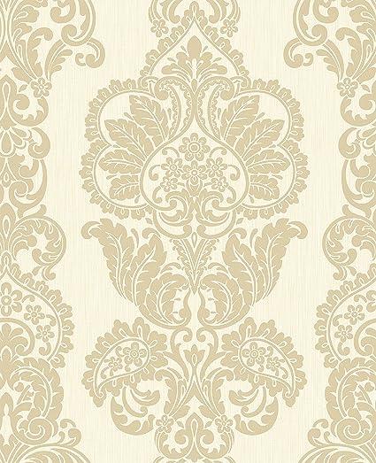 Bhf Fd40900 Rochester Damask Cream Gold Wallpaper Set Of 2 Pieces