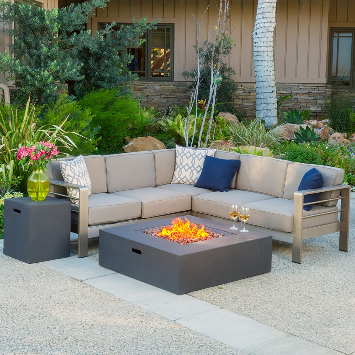 Christopher Knight Home 299881 Crested Bay Outdoor Aluminum Sectional Sofa Set with Propane Fire Table | Khaki/Gr, Grey