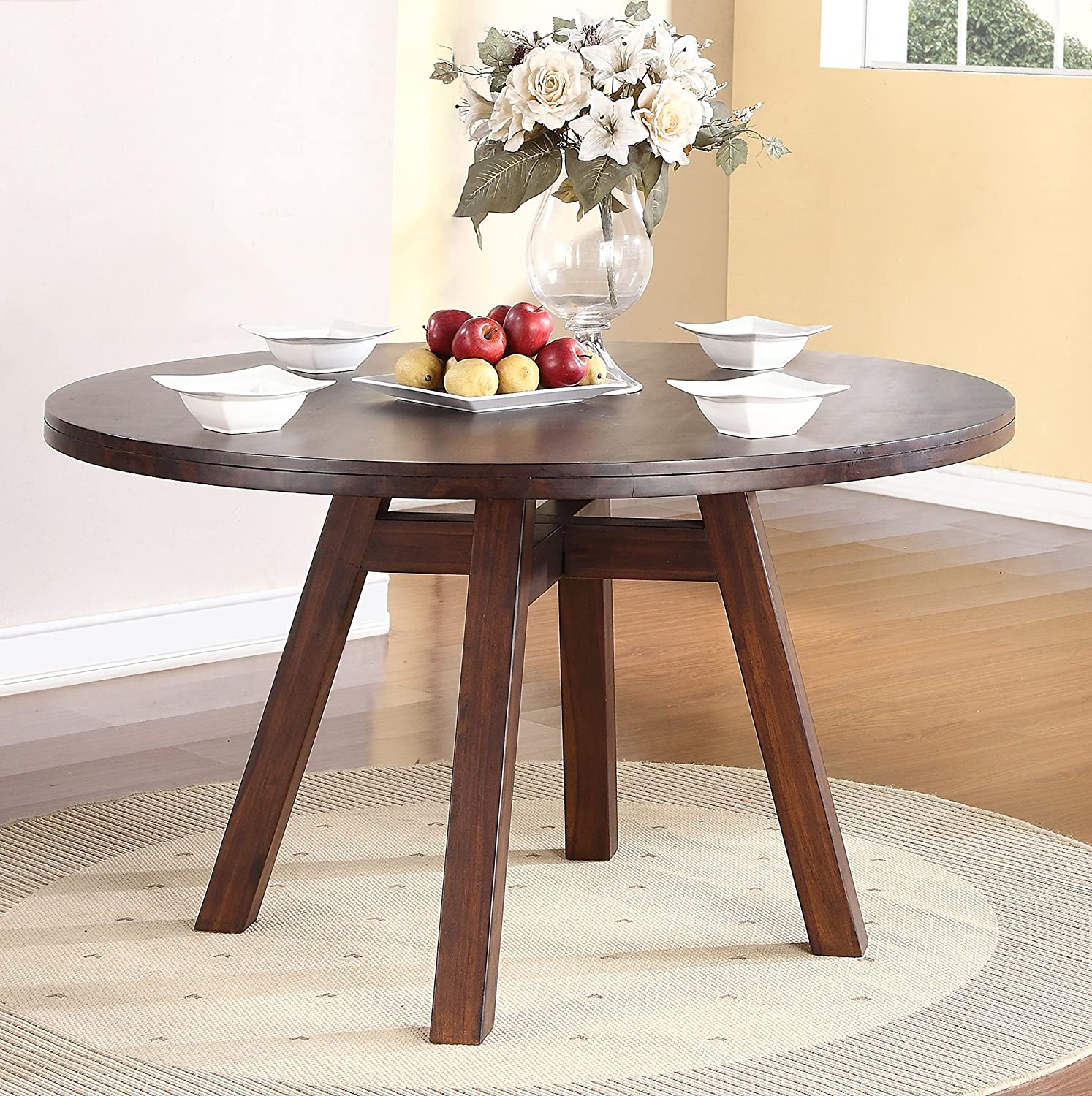 Amazon Modus Furniture 7Z4861 Portland Solid Wood Round Dining Table Walnut Kitchen