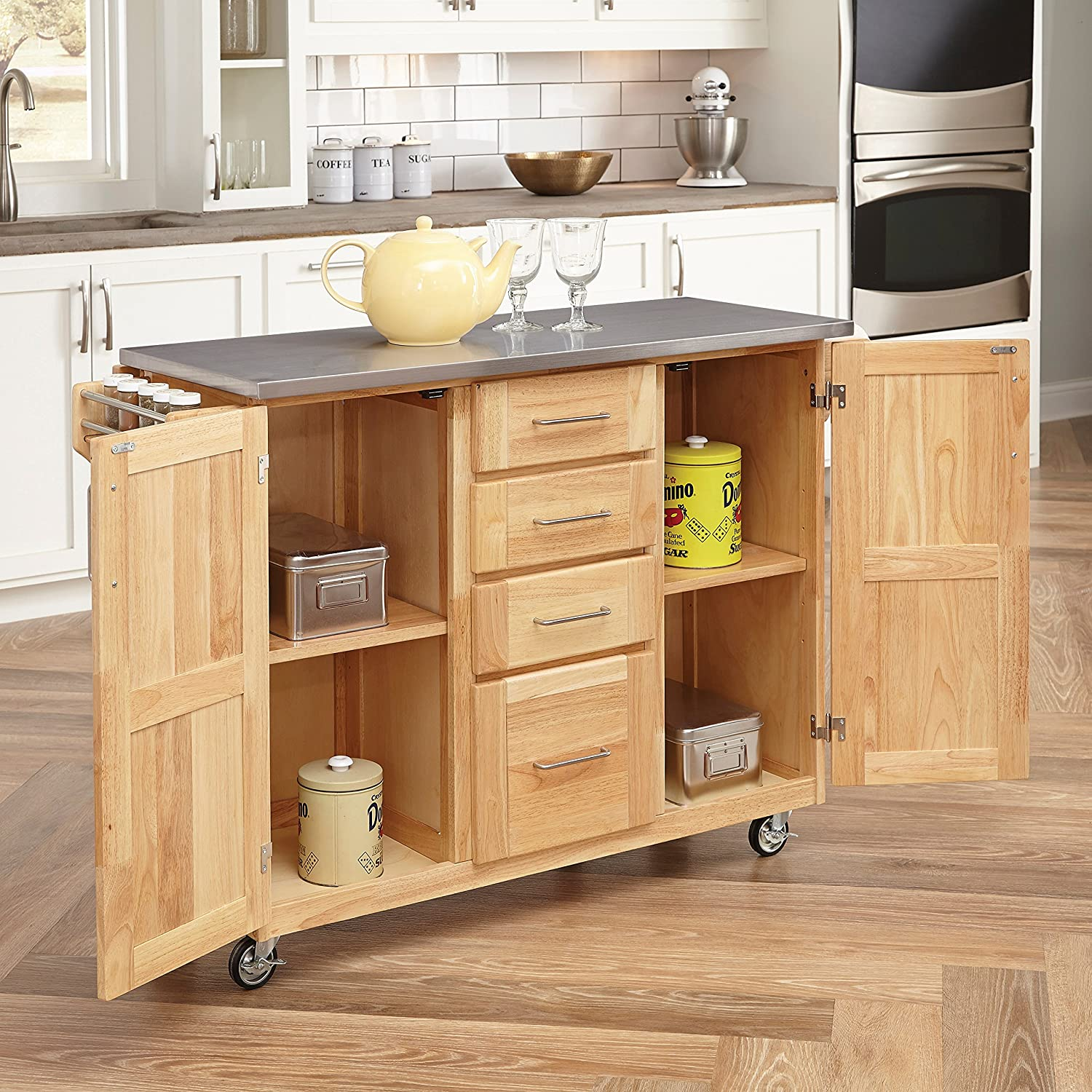 Kitchen Cart With Doors Amazoncom Home Styles 5086 95 Stainless Steel Top Kitchen Cart