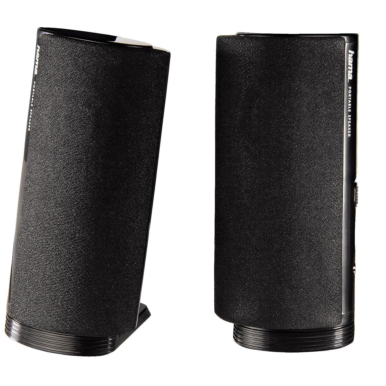 Hama Multimedia Lautsprecher E 80 (PC Lautsprecher mit 3,5 mm Klinke, USB, 2,5 W, aktive Boxen fü r Computer, Laptop, Notebook, Smartphone, Tablet) schwarz 057139