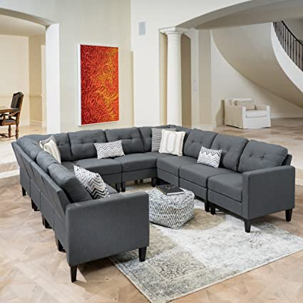 Emma Mid Century Modern 10 Piece Dark Grey Fabric U-Shaped Sectional Sofa