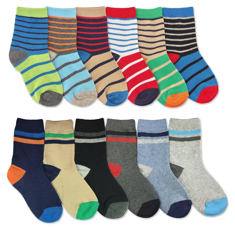 Jefferies Socks Boys Multicolored Stripe Fashion Variety Crew Socks 12 Pair Pack