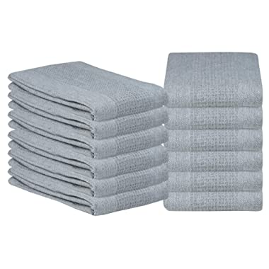 Glamburg 100% Cotton Kitchen Towel 12-Pack 18x28 Waffle Weave Kitchen Dish Towels or Cleaning Towels - Highly Absorbent & Quick Dry - Light Grey