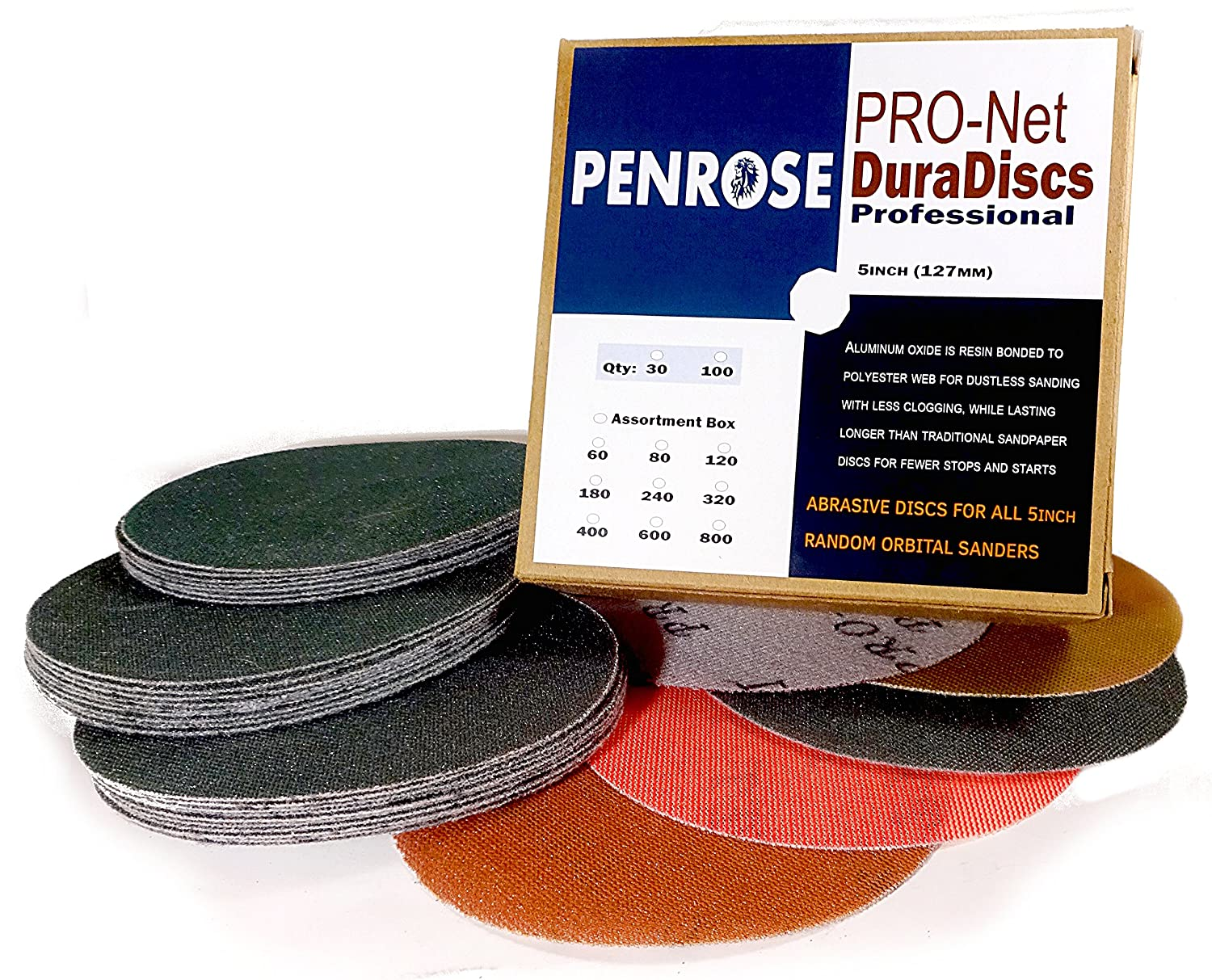 5 Inch Sanding Discs Hook and Loop Truly Dustless and Durable 30 Pack for Random Orbital Sanders Fits 8 Hole and 5 Hole Penrose PRO-Net DuraDiscs Professional 320 Grit