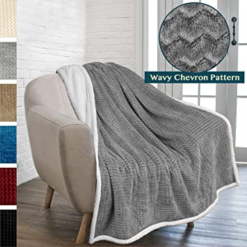 Fabulous Pavilia Premium Chevron Sherpa Throw Blanket Soft Reversible Grey Fleece Blanket Throw Plush Fuzzy Throw For Couch Sofa Lap Tv Blanket Andrewgaddart Wooden Chair Designs For Living Room Andrewgaddartcom