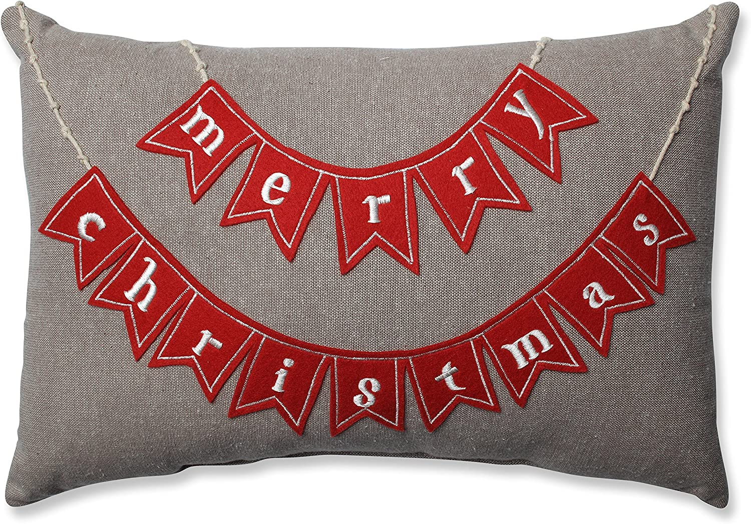 Pillow Perfect Country Home Merry Christmas Rectangular Throw Pillow, Red/Biscuit