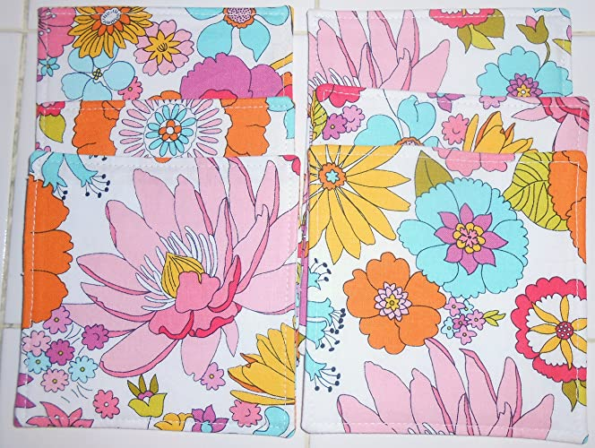 Reversible Mod Floral Fabric Coasters, Set of 6