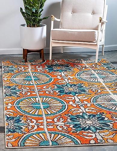Cheap Unique Loom Estrella Collection Vibrant Abstract Orange Area Rug 10' 6 x 16' 5 living room rug for sale