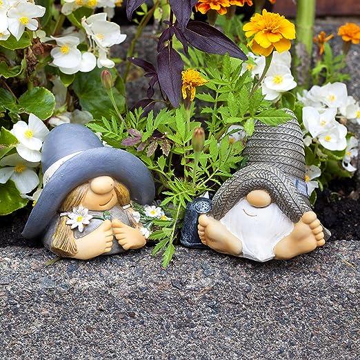 Figuras decorativas (resina, 2 piezas), diseño de gnomo.: Amazon ...