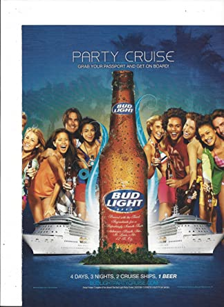 MAGAZINE ADVERTISEMENT For 2008 Bud Light Beer Party Cruise Scene at