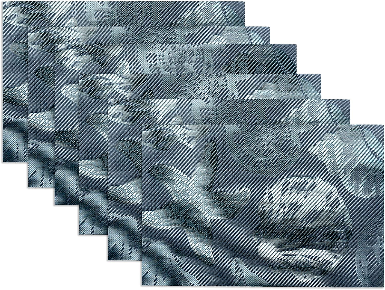 Doupoo Sea Place Mats Beach Theme, Heat Resistant Placemats for Dining Table Mats Set of 6 - Nautical Blue Reversible Placemats Starfish Seashell Conch